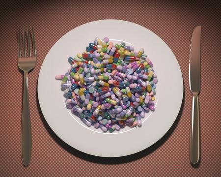 お皿いっぱいの薬とサプリメント