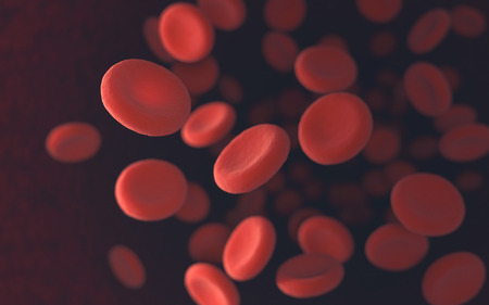 Red blood cells moving in blood vessels with depth of field. Standard-Bild
