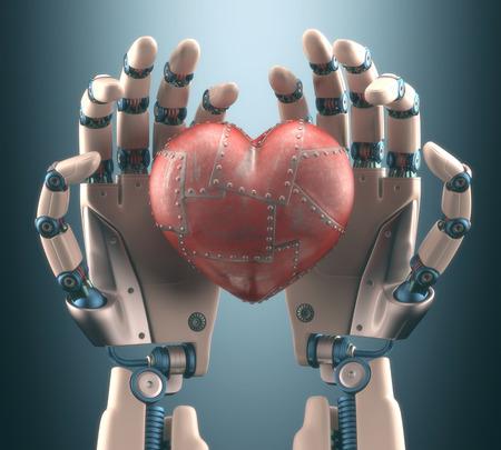 Robot hand holding a metal heart.