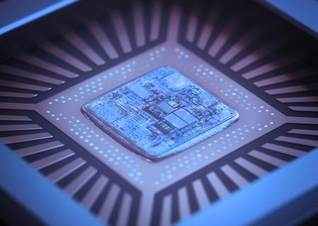 Microchip on board. Depth of field in the core.