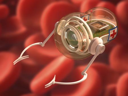 Robot Nano avec caméra, micro-traitées avec des griffes et signe la radio pour aider à combattre les maladies. Chemin de détourage inclus.
