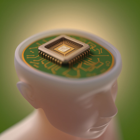 microprocessors: Microprocessor in the head. Concept of science and technology.