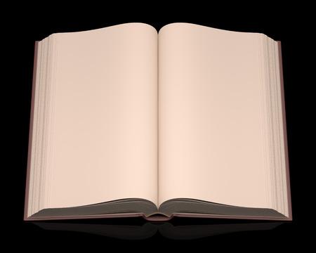 libro abierto: Libro abierto y sin escrituras en la parte superior de un fondo negro. Trazado de recorte incluido. Foto de archivo