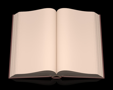 encyclopedic: Open book without scriptures on top of a black background. Clipping path included.