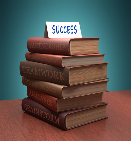 encyclopedic: books stacked with motivational words for success. Clipping path included.