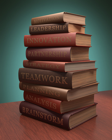 encyclopedic: Several books stacked with lessons for achieving success. Clipping path included.