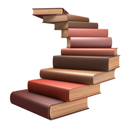 encyclopedic: Several books stacked in the form of stairs. Clipping path included. Stock Photo
