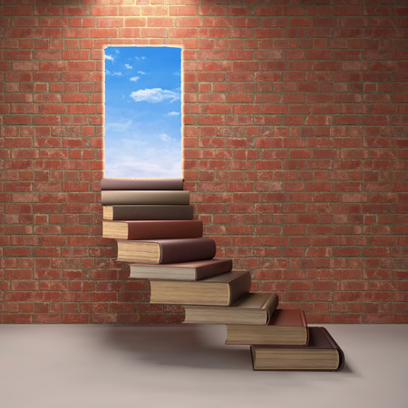 encyclopedic: Stairs made of books on a concept of learning and achievement of success.