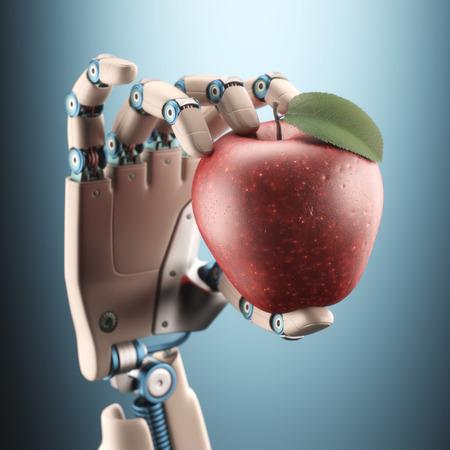 Robotic hand holding an apple.
