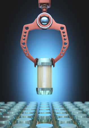 microcosmic: Claw robotics choosing a bottle among many others. Clipping path included on the bottle.