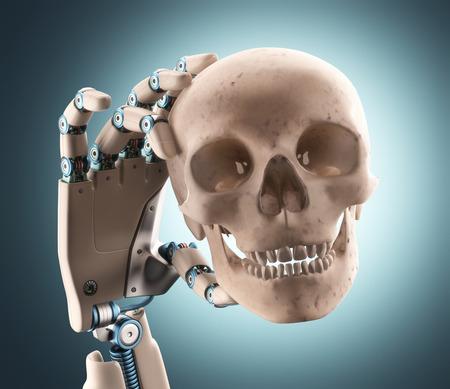 mano robotica: Mano robótica sostiene un cráneo humano. El camino de recortes en el cráneo. Foto de archivo
