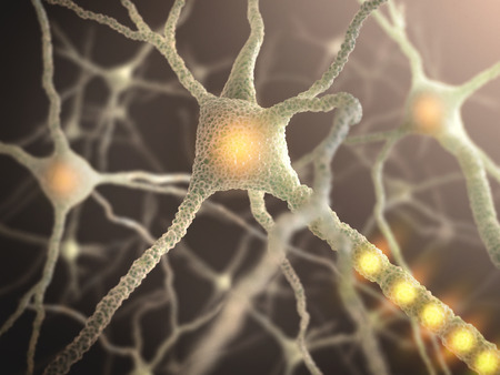 synaptic: Interconnected neurons transferring information with electrical pulses.