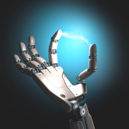 robot: Ręka robota z elektrycznością między palcami.