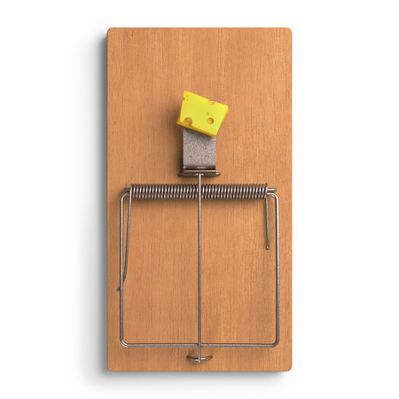 mousetrap: Mousetrap with cheese on white background. Clipping path included. Stock Photo