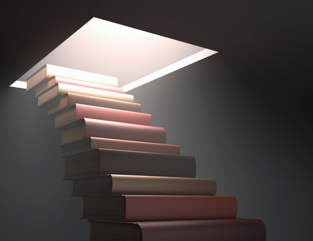 encyclopedic: Books stacked ladder shaped on a concept of knowledge and growth.