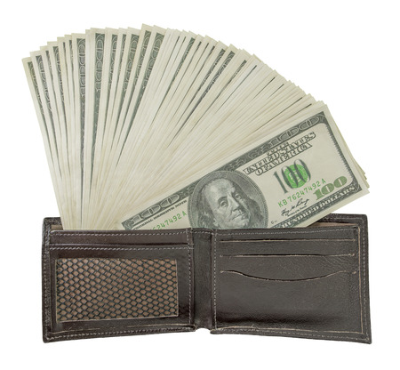wallet: The wallet full of money. Clipping path included.