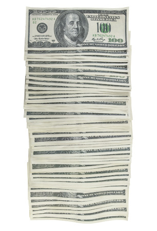 business funds: Several dollar bills with clipping path included.