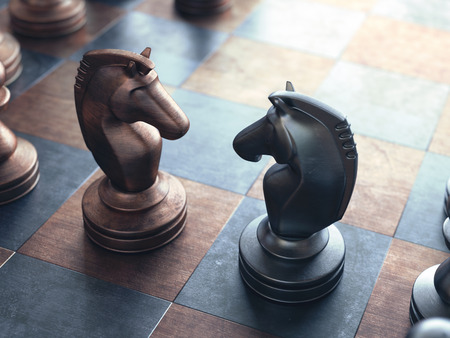chess knight: Dispute face to face in chess.