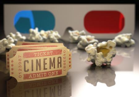 영화 티켓 및 주위에 흩어져 팝콘과 3D 안경. 스톡 콘텐츠