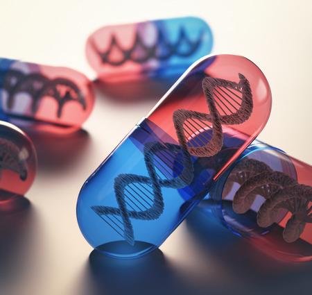 medicamento: Tabletas con código genético en el interior. Concepto del avance de la medicina en el tratamiento de enfermedades. Foto de archivo