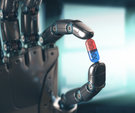 Robotic hand holding a pill of DNA. Concept of the technology, dominated by machines. Archivio Fotografico