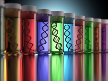 alteration: Colored test tubes with genetic codes inside. Concept of copy and genetic alteration. Stock Photo