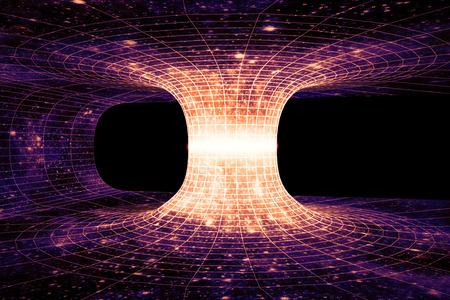 ワームホール、またはアインシュタイン ・ ローゼン橋は、時空の 2 点を接続する仮想的なショートカットです。 写真素材
