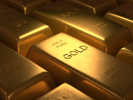 1000 grams of pure gold. Depth of field in the gold word. Stockfoto