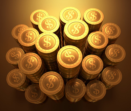 path to wealth: Gold coins stacked on wealth concept. Clipping path included.