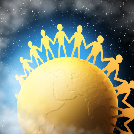 nations: People of all nations united to each other. Clipping path included. Stock Photo