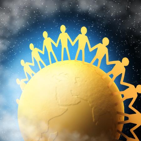naciones unidas: Personas de todas las naciones unidas entre sí. Trazado de recorte incluido. Foto de archivo