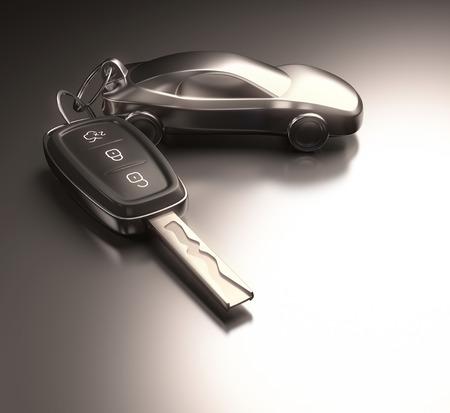 キー車は、金属のテーブルの上のキーホルダー。クリッピング パスを含めます。