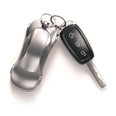 Key car and key ring over white background. Clipping path included.