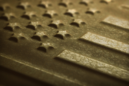 corrode: Rusty metal flag of the United States Of America. Depth of field with focus on the first star down the middle of the flag. Stock Photo