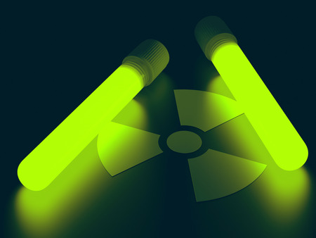 contagious: Test tubes with radioactive product illuminating radiation signal. Clipping path included.