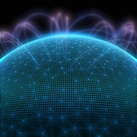 이진 코드와 세계 통신을 나타내는 점 디지털 행성입니다.