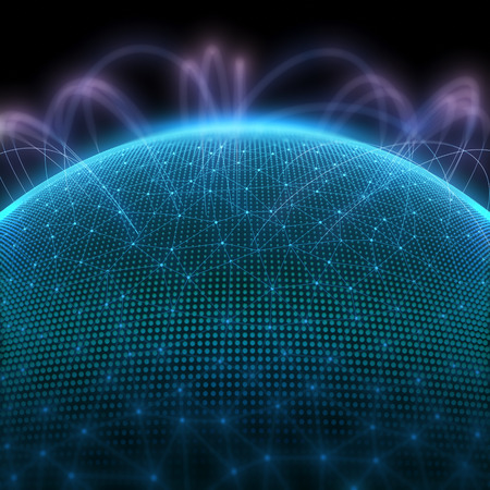 nets: Digital planet with dots representing the binary code and world communication. Stock Photo