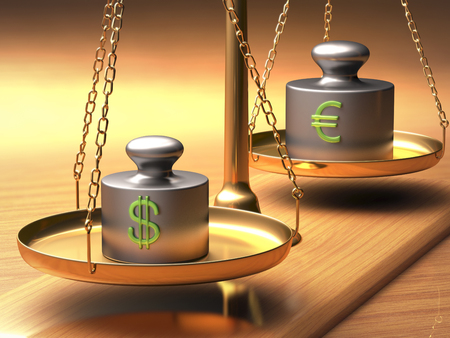 eur: Scales of justice weighing two currencies. Clipping path included. Stock Photo