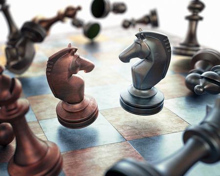 ajedrez: Imagen concepto de piezas de ajedrez que flotan sobre el tablero.