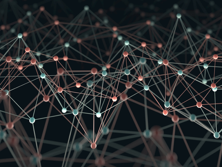 neuron: Abstract background with points and interlinked connections in a network concept. Stock Photo
