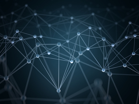 Abstract background with points and interlinked connections in a network concept. Stockfoto