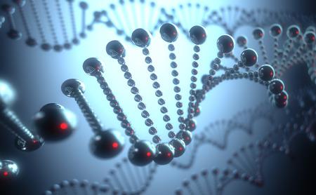 科学および薬の進化の未来的なコンセプトで金属の DNA の螺旋形。