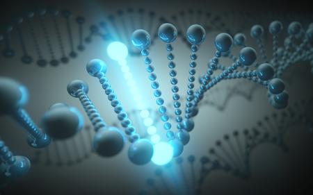 microscopio: hélice de ADN metálico en un concepto futurista de la evolución de la ciencia y la medicina. Foto de archivo