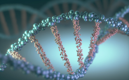 DNA helix in a futuristic concept of the evolution of science and medicine.