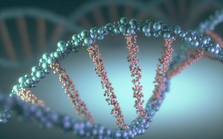 hélice de ADN en un concepto futurista de la evolución de la ciencia y la medicina. Foto de archivo