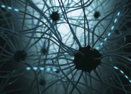 neurone: Image concept of neurons interconnected in a complex brain network. Stock Photo