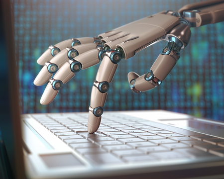 human robot: Robotic hand, accessing on laptop, the virtual world of information. Concept of artificial intelligence and replacement of humans by machines. Stock Photo