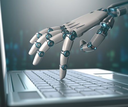 information: Robotic hand, accessing on laptop, the virtual world of information. Concept of artificial intelligence and replacement of humans by machines. Stock Photo