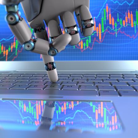 mano de robot, ordenando en un teclado portátil, un comercio de intercambio. sistema de comercio robot es un programa de comercio de equipo que envía automáticamente los oficios de un intercambio sin ningún tipo de intervención humana. Profundidad de campo con enfoque en el dedo. Foto de archivo