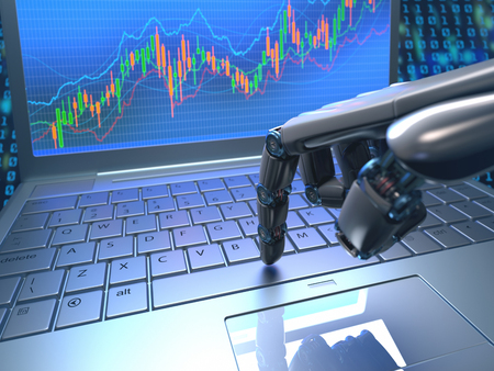 Robot hand, ordering on a laptop keyboard, an exchange trade. Robot trading system is a computer trading program that automatically submits trades to an exchange without any human interventions. Depth of field with focus on finger.